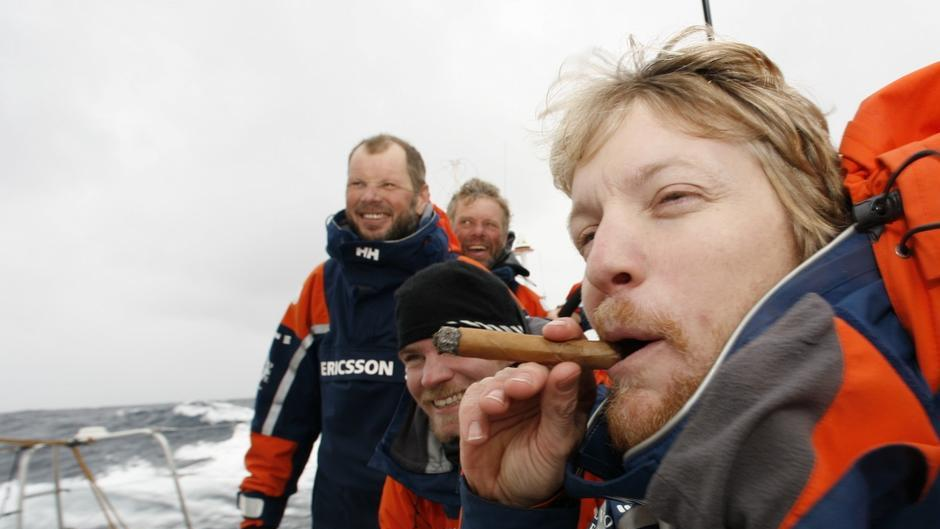 For EDITORIAL USE only, please credit: Gustav Morin/Ericsson 3/Volvo Ocean RaceNavigator Aksel Magdahl celebrating in classic style with cigarMagnus Olsson and his team of Nordic sailors onboard Ericsson 3 rounded the legendary Cape Horn at 1222 GMT today in pole position and in daylight, gaining maximum points at the scoring gate.For every sailor, the achievement of rounding this notorious Cape, which is the tip of one small island with a lighthouse, situated in one of the most remote areas in the world, is never diminished, no matter how many times they do it.The Volvo Ocean Race 2008-09 will be the 10th running of this ocean marathon. Starting from Alicante in Spain, on 4 October 2008, it will, for the first time, take in Cochin, India, Singapore and Qingdao, China before finishing in St Petersburg, Russia for the first time in the history of the race. Spanning some 37,000 nautical miles, visiting 11 ports over nine months, the Volvo Ocean Race is the world's premier ocean yacht race for professional racing crews.For all media enquiries please contact Lizzie Ward on +44 (0)1489 554 832 or email lizzie.ward@volvooceanrace.org. For all photographic enquiries, please contact Tim Stonton on +44 (0)1489 554 867 or email tim.stonton@volvooceanrace.org. For further images, please go to http://images.volvooceanrace.org