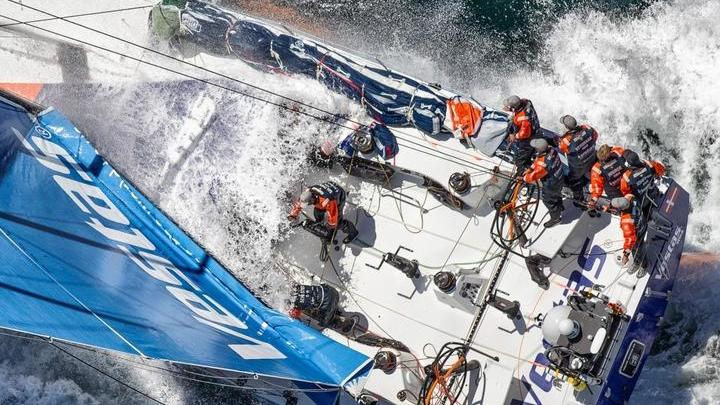 November 06,2014. Team Vestas Wind approaches land in fourth place for Leg 1 from Alicante to Cape Town.