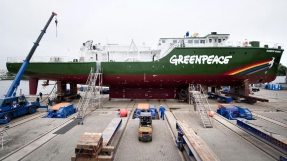 The hull of the new Rainbow Warrior III on dry ground at the Fassmer Shipyard in Berne. The ship is being prepared to be lifted into the water. The Rainbow Warrior is Greenpeace's first purpose-built vessel, and will be officially launched in Autumn 2011.